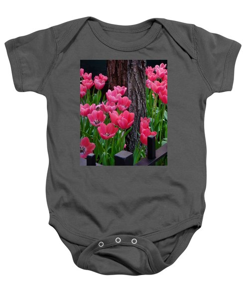 Tulips And Tree Baby Onesie by Mike Nellums