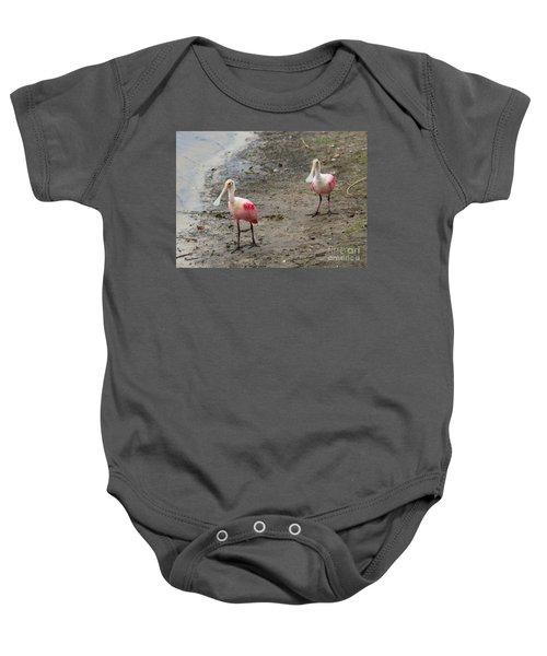 Two Roseate Spoonbills 2 Baby Onesie by Carol Groenen