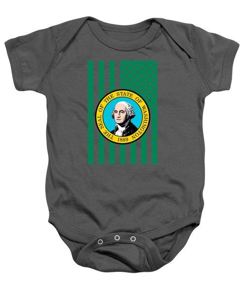 Washington State Flag Graphic Usa Styling Baby Onesie by Garaga Designs