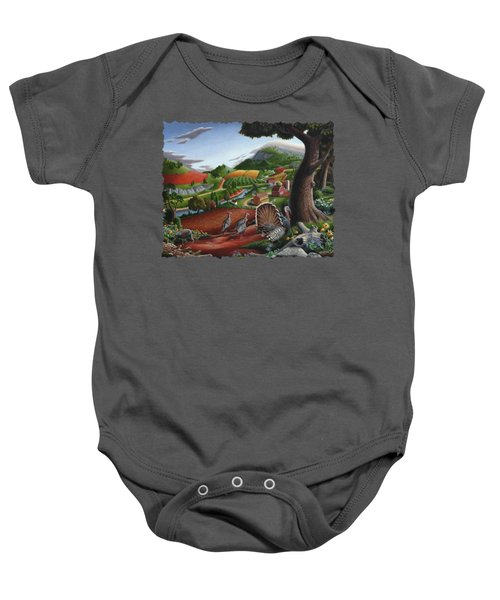 Wild Turkeys Appalachian Thanksgiving Landscape - Childhood Memories - Country Life - Americana Baby Onesie by Walt Curlee