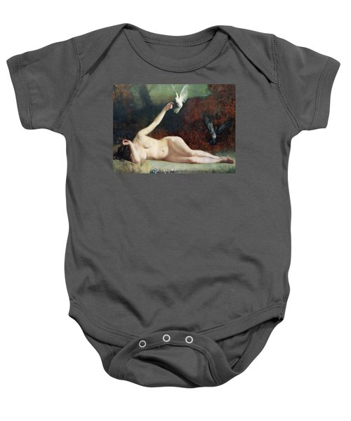 Woman With Pigeons Baby Onesie by Ernst Philippe Zacharie