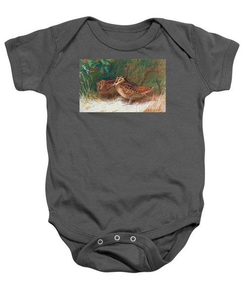 Woodcock In The Undergrowth Baby Onesie by Archibald Thorburn