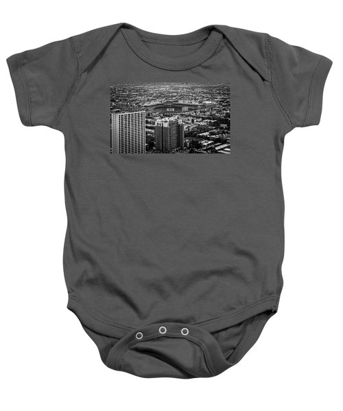 Wrigley Field Park Place Towers Day Bw Dsc4575 Baby Onesie by Raymond Kunst