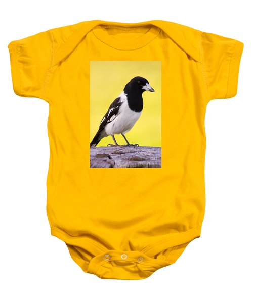 Fencepost Magpie Baby Onesie by Jorgo Photography - Wall Art Gallery