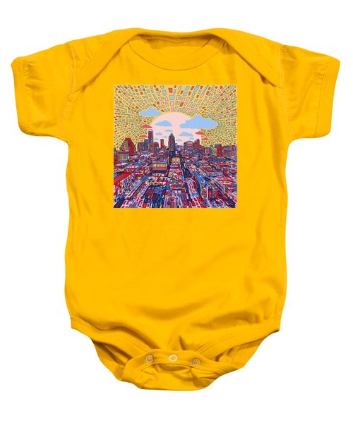 Austin Texas Abstract Panorama 2 Baby Onesie by Bekim Art