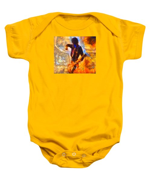 Jimmy Page Playing Guitar With Bow Baby Onesie by Dan Sproul