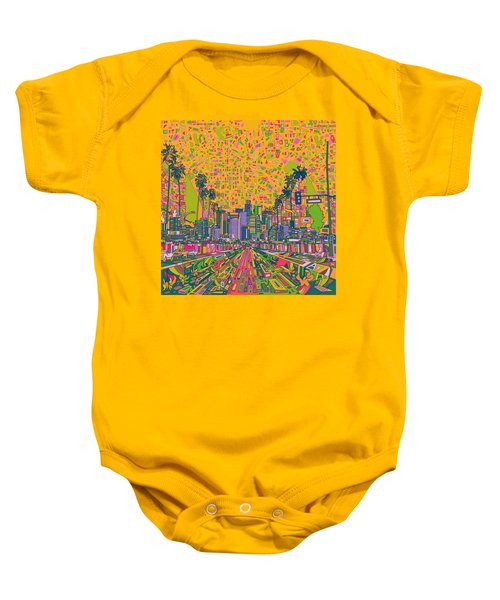 Los Angeles Skyline Abstract Baby Onesie by Bekim Art