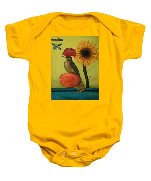 Royal Flycatcher  Baby Onesie by Leah Saulnier The Painting Maniac