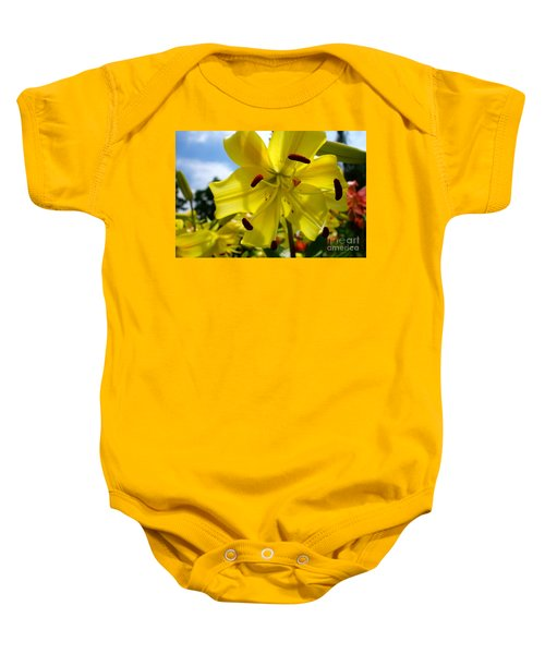 Yellow Whopper Lily 2 Baby Onesie by Jacqueline Athmann
