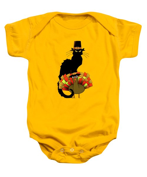 Thanksgiving Le Chat Noir With Turkey Pilgrim Baby Onesie by Gravityx9   Designs