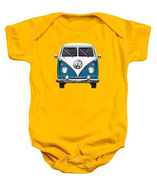 Volkswagen Type 2 - Blue And White Volkswagen T 1 Samba Bus Over Orange Canvas  Baby Onesie by Serge Averbukh