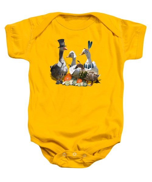 Thanksgiving Ducks Baby Onesie by Gravityx9 Designs