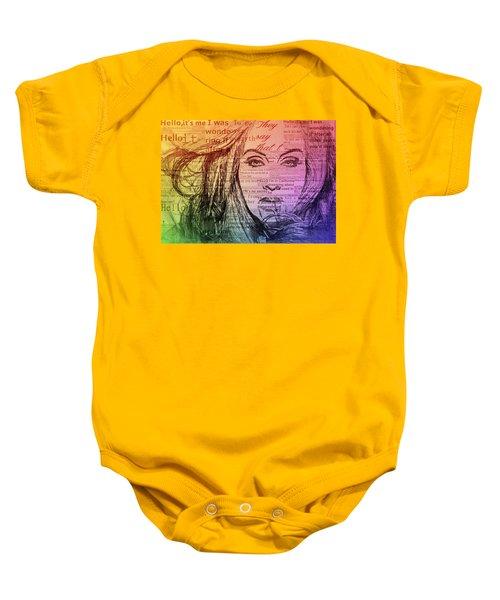Adele Hello Typography  Baby Onesie by Dan Sproul