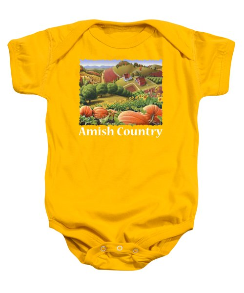 Amish Country T Shirt - Appalachian Pumpkin Patch Country Farm Landscape 2 Baby Onesie by Walt Curlee