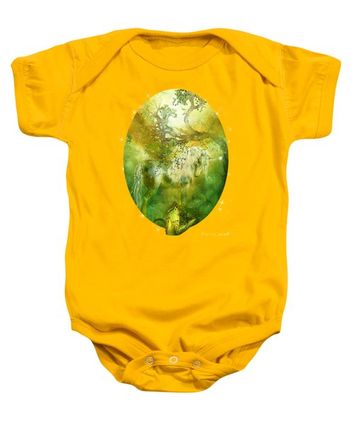 Unicorn Of The Forest  Baby Onesie by Carol Cavalaris