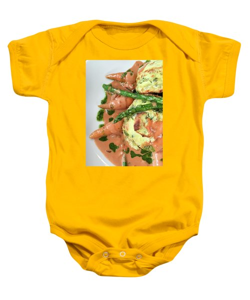 Asparagus Dish Baby Onesie by Tom Gowanlock