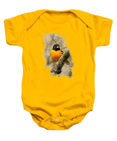 Baltimore Oriole Watercolor Art Baby Onesie by Christina Rollo