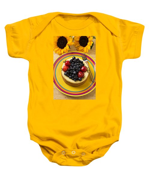 Cheesecake With Fruit Baby Onesie by Garry Gay