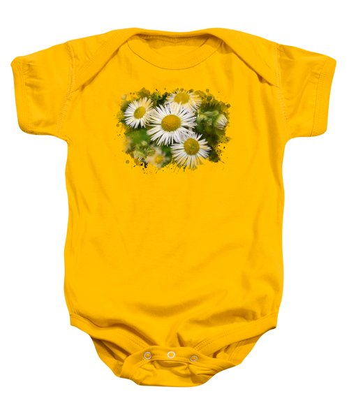 Daisy Watercolor Art Baby Onesie by Christina Rollo
