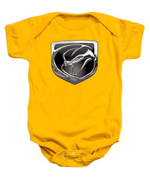 Dodge Viper 3 D  Badge Special Edition On Yellow Baby Onesie by Serge Averbukh