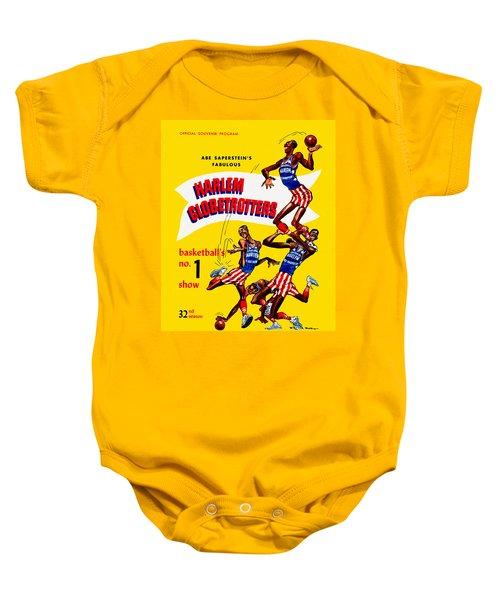 Harlem Globetrotters Vintage Program 32nd Season Baby Onesie by Big 88 Artworks