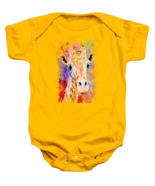 Jazzy Giraffe Colorful Animal Art By Jai Johnson Baby Onesie by Jai Johnson