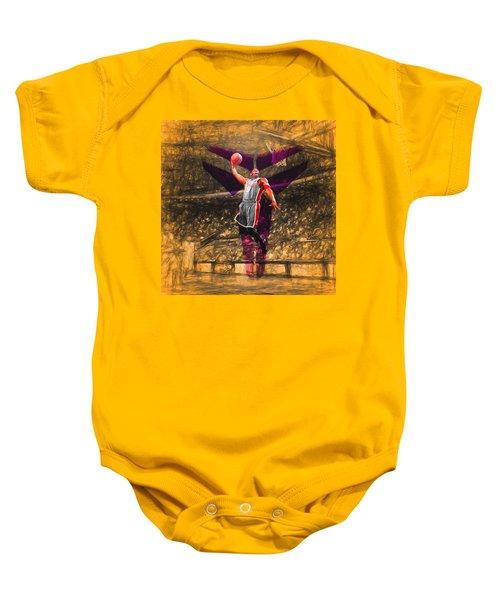 Kobe Bryant Black Mamba Digital Painting Baby Onesie by David Haskett