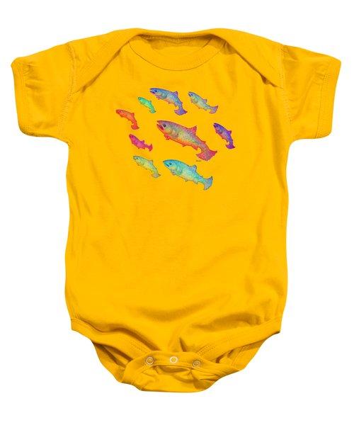 Leaping Salmon Design Baby Onesie by Teresa Ascone