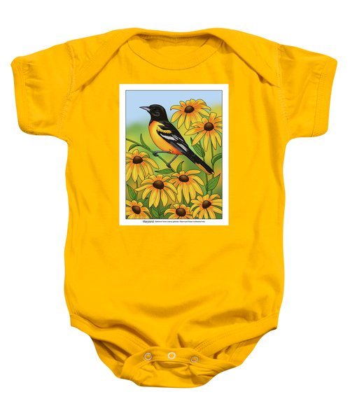 Maryland State Bird Oriole And Daisy Flower Baby Onesie by Crista Forest
