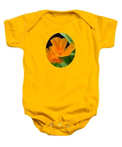 Orange California Poppies Baby Onesie by Christina Rollo
