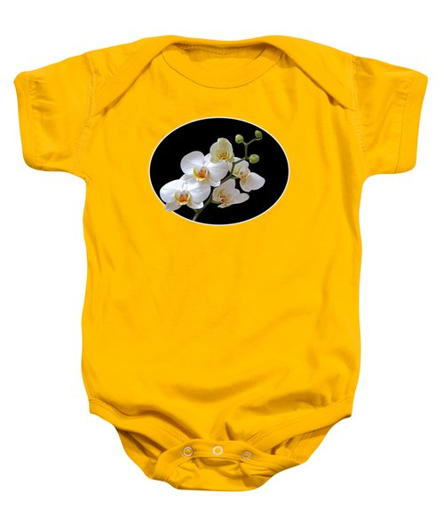 Orchids On Black And Orange Baby Onesie by Gill Billington