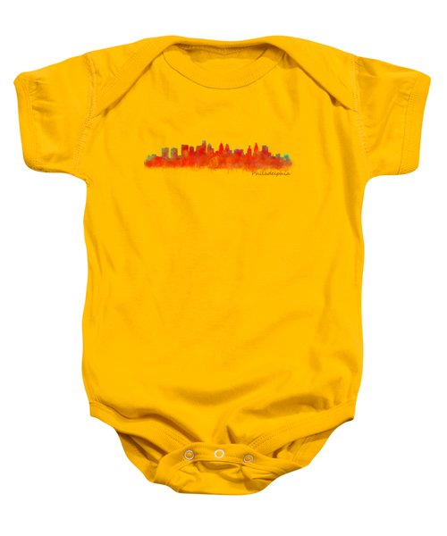 Philadelphia City Skyline Hq V2 Baby Onesie by HQ Photo