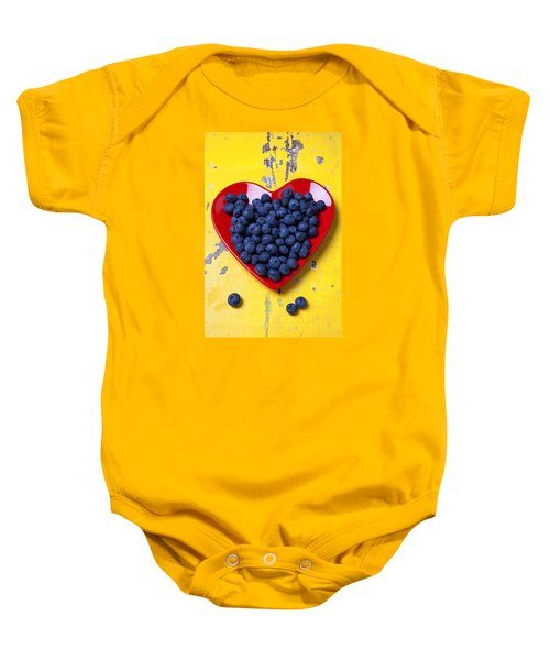 Red Heart Plate With Blueberries Baby Onesie by Garry Gay