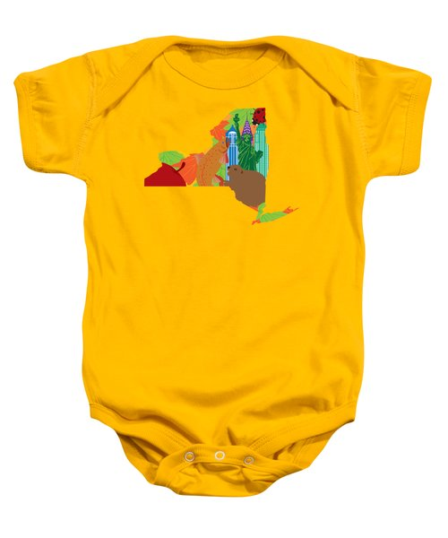 State Of New York Official Map Symbols Baby Onesie by Jit Lim