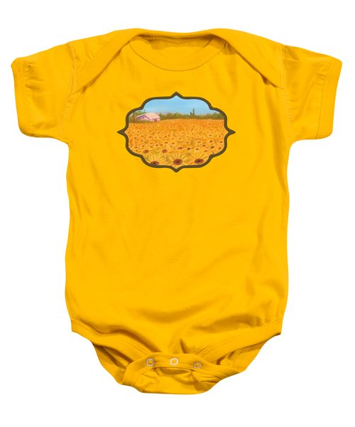 Sunflower Field Baby Onesie by Anastasiya Malakhova
