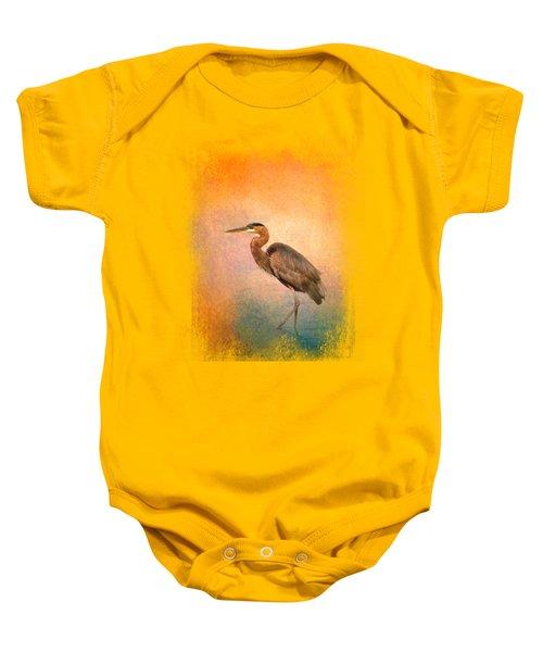 Sunset Heron Baby Onesie by Jai Johnson