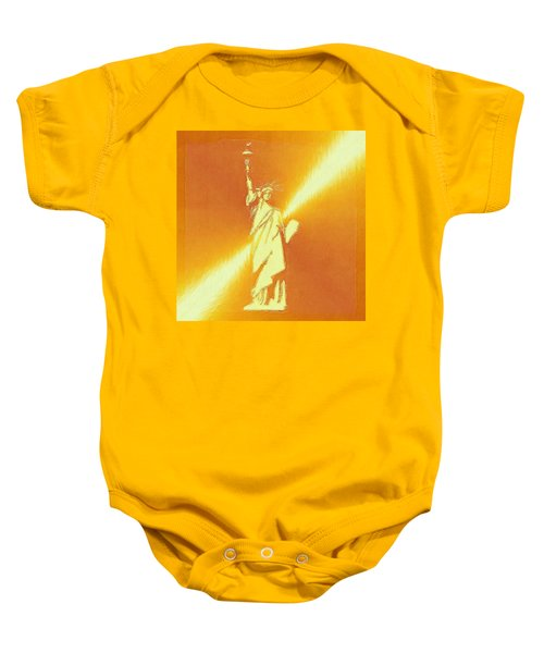 Sunstrike On Statue Of Liberty Baby Onesie by Clive Littin