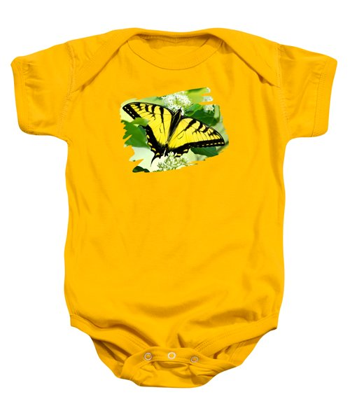 Swallowtail Butterfly Feeding On Flowers Baby Onesie by Christina Rollo