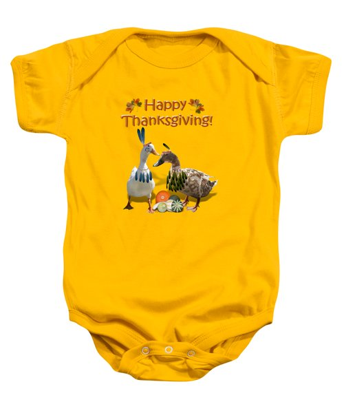 Thanksgiving Indian Ducks Baby Onesie by Gravityx9  Designs