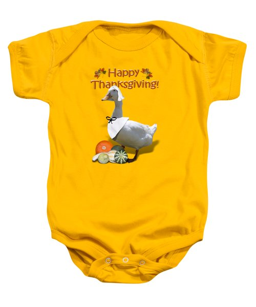 Thanksgiving Pilgrim Duck Baby Onesie by Gravityx9  Designs