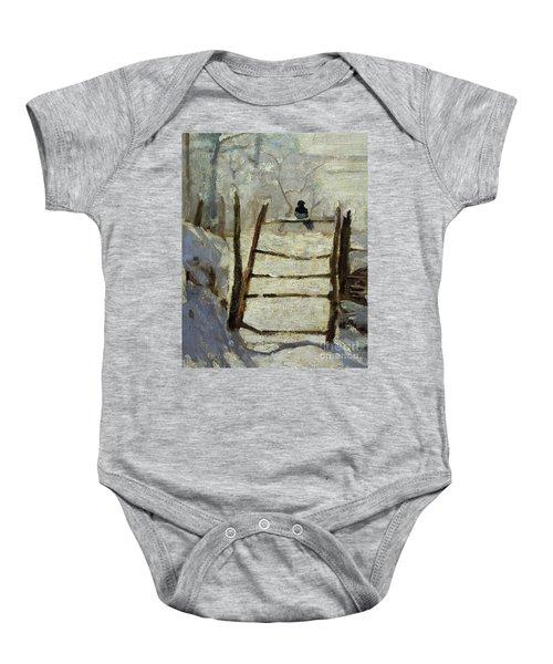 The Magpie Baby Onesie by Claude Monet