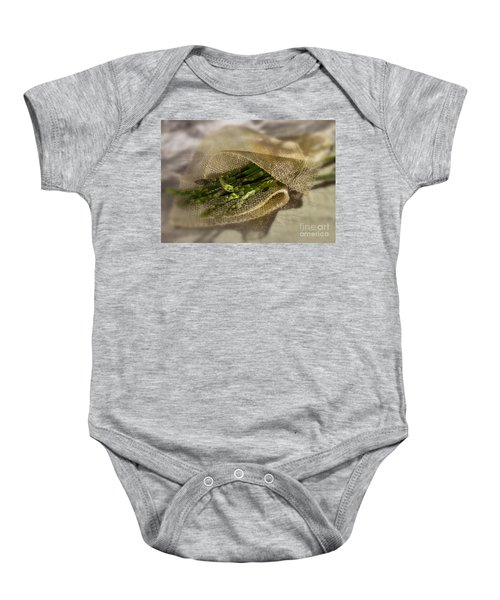 Green Asparagus On Burlab Baby Onesie by Iris Richardson