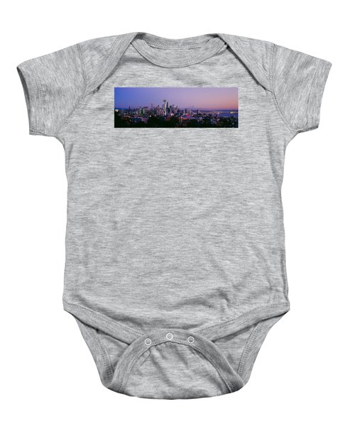 High Angle View Of A City At Sunrise Baby Onesie by Panoramic Images