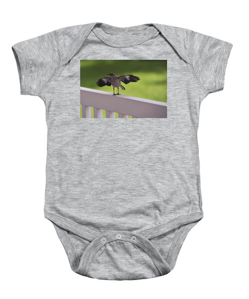 A Little Visitor Northern Mockingbird Baby Onesie by Terry DeLuco