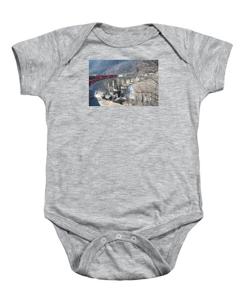 Baby Onesie featuring the photograph Bernina Express In Winter by Travel Pics