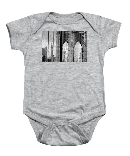 Brooklyn Bridge New York City Usa Baby Onesie by Sabine Jacobs