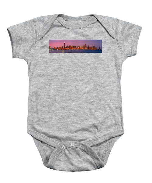Chicago Skyline At Dusk 2008 Panorama Baby Onesie by Jon Holiday