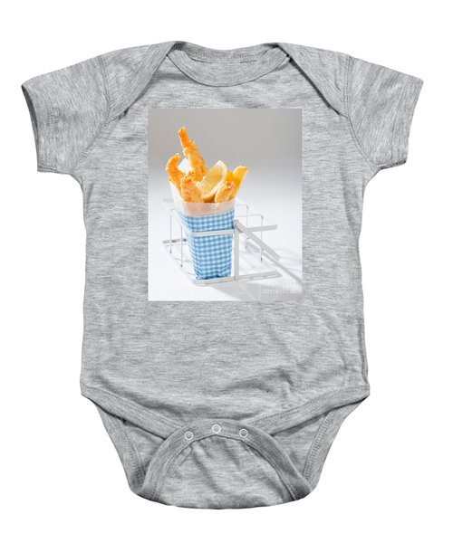 Fish And Chips Baby Onesie by Amanda Elwell