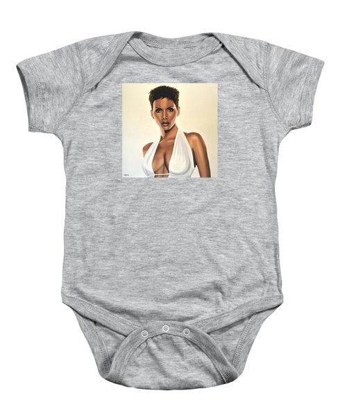 Halle Berry Painting Baby Onesie by Paul Meijering