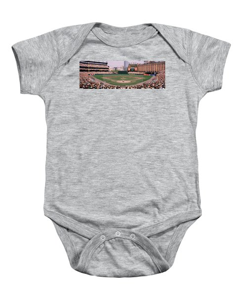High Angle View Of A Baseball Field Baby Onesie by Panoramic Images